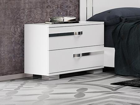 Wave Collection CB-WV01NS  Nightstand in High Gloss White Melamine with Chrome