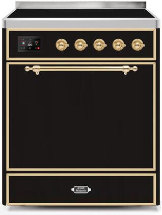 Ilve Majestic II UMI30QNE3BKG Freestanding Electric Range Black, UMI30QNE3BKG-Front-CD-A