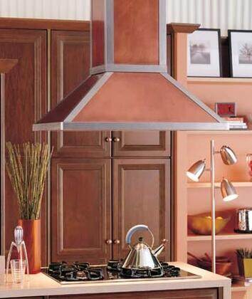 RangeCraft  CMTRIMLINE Island Mount Range Hood Custom Color, Shown in Antique Copper with Stainless Bands and Trim