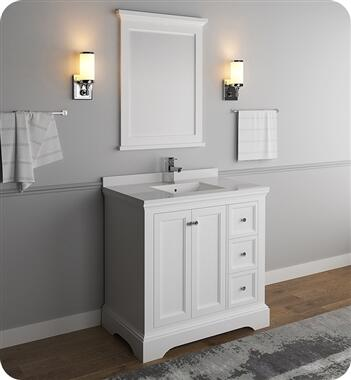 Windsor Collection FVN2436WHM 36″ Matte White Traditional Bathroom Vanity with