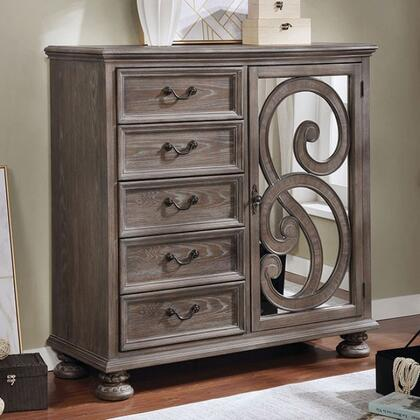 """Lysandra Collection CM7661AR 48"""" Armoire with Antique Inspired Drawer Pulls Felt-lined Top Drawer and Bun Feet in Rustic Natural"""