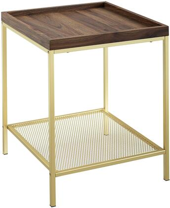 AF18EMSTDWG 18    Square Tray Side Table with Mesh Metal Shelf – Dark