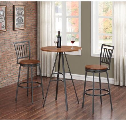 American Woodcrafters Stockton P1101B1013PC Bar Table Set Brown, main image 2074P1 101 B101 3PC