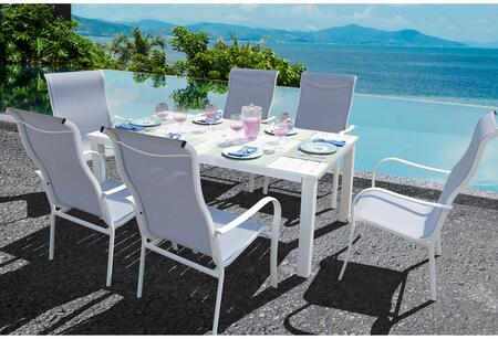 Bellini Home and Gardens Lizy A58407WTA209 Outdoor Patio Set White, A58407WTA209 set