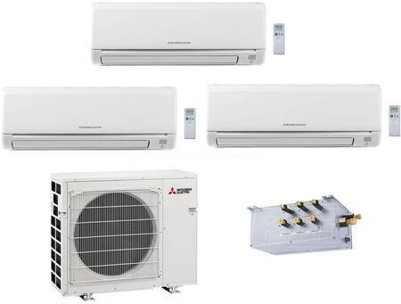 Mitsubishi M Series 864958 Triple-Zone Mini Split Air Conditioner White, 1
