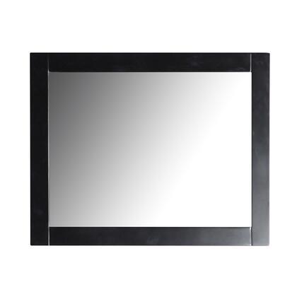808185-M-30 30″ Rectangle Wood Frame Mirror In Matte Black