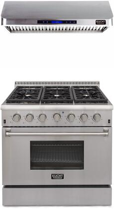 """Professional Series 2-Piece Kitchen Appliances Package with KRG3618U 36"""" Natural Gas Range and KRH3601U 36"""" Digital Control Hood In Stainless"""
