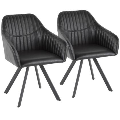 Clubhouse Collection CH-CLBPBK+BK2 Set of 2 Pleated Chair with Black Splayed Metal Legs  Contemporary Style  Pleated Backrest and   Faux Leather