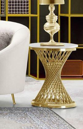"""Solstice_Collection_SOLSTICEETGD_18""""_End_Table_with_Round_Shape__Genuine_Marble_Top__Polished_Stainless_Steel_and_Spiral_Spoked_Base_in_Gold"""