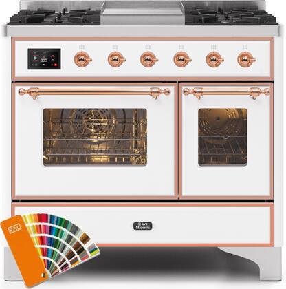 Ilve Majestic II UMD10FDNS3RALP Freestanding Dual Fuel Range Custom Color, UMD10FDNS3SSBLP-Front-CD-A