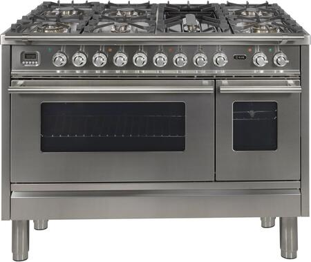 UPW120FDMPILP 48″ Professional Plus Dual Fuel Range with 7 Sealed Burners  Double Ovens  Griddle  and Rotisserie  in Stainless