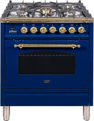 Ilve Nostalgie UPN76DMPBL Freestanding Dual Fuel Range Blue, UPN76DMPBL Dual Fuel Gas Range