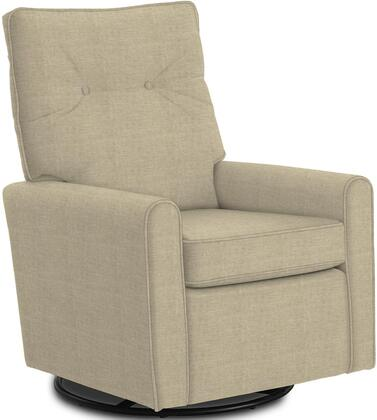 Phylicia Collection 4007-19709 Recliner with 360-Degrees Swivel Glider Metal Base  Removable Back  High Backrest  Zipper Access and Fabric Upholstery