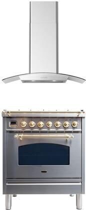 2 Piece Kitchen Appliances Package with UPN76DMPILP 30″ Dual Fuel Liquid Propane Range and CORTIVO30 30″ Wall Mount Convertible Hood in Stainless