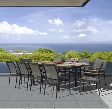 Fine Line Essence Collection GR01411LVB2048T 11 Piece Outdoor Dining Set with Cosmopolitan Teak Extension Table  Teak Wood Armrest  Umbrella Hole