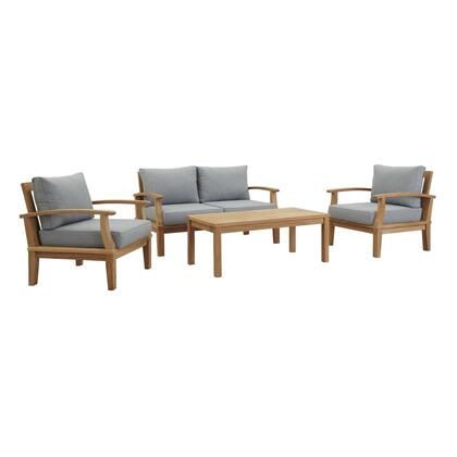 Marina Collection EEI-1469-NAT-GRY-SET 4 PC Outdoor Patio Teak Set in Natural Grey