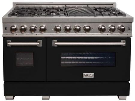 RAS-BLM-48 48″ Matte Black Professional Natural Gas Dual Fuel Range with 6 Italian Burners  6 cu. ft. Capacity Oven  Griddle  Cast Iron Grates and