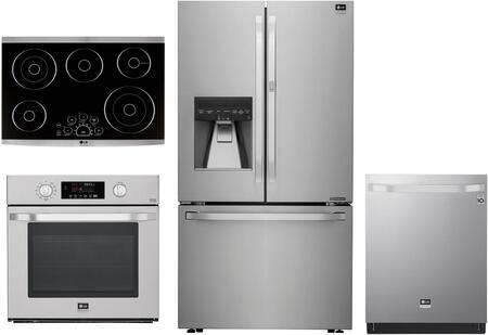4 Piece Kitchen Appliances Package with LSFXC2476S 36″ French Door Refrigerator  LSWS307ST 30″ Single Wall Convection Oven  LSCE305ST 30″ Electric