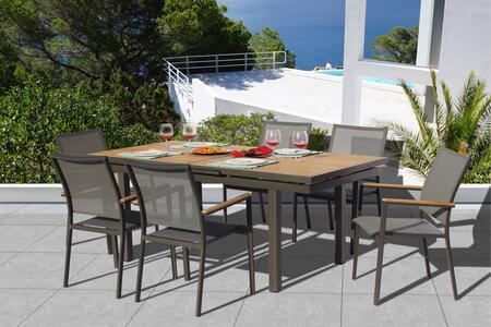 Fine Line Essence Collection GR01407LVB2048T 7 Piece Outdoor Dining Set with Cosmopolitan Teak Extension Table  Teak Wood Armrest  Umbrella Hole