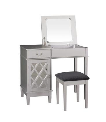 Linon Lattice 58036SIL01KDU Vanity, 58036SIL 01 KD U LATTICE VANITY IN SILVER OPEN
