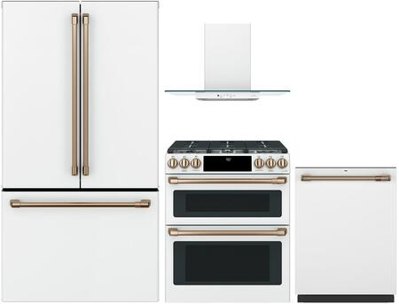 4 Piece Kitchen Appliances Package with CWE23SP4MW2 36″ French Door Refrigerator  CGS750P4MW2 30″ Slide-in Gas Range  CVW73014MWM 30″ Wall Mount