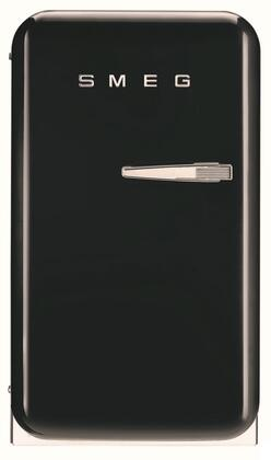 Smeg 50s Retro Style FAB5ULNE Compact Refrigerator Black, Front View