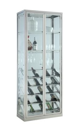 6655-CUR Contemporary Glass Curio with Wine & Stemware Racks with Two 12″x 29″ Clear Tempered Glass Shelves in