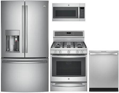 4 Piece Wi-Fi Connected Kitchen Appliances Package with PYE22PSKSS 36″ French Door Refrigerator  PGB940SEJSS 30″ Gas Range  PVM9179SKSS 30″ Over the