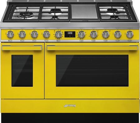 Smeg Portofino CPF48UGMYW Freestanding Dual Fuel Range Yellow, Main Image