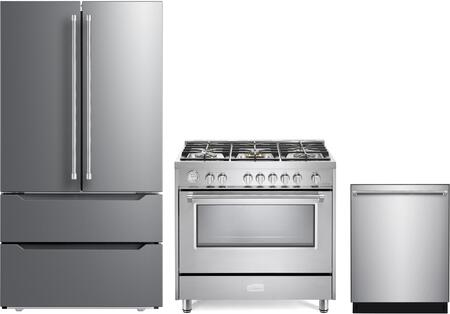 3 Piece Kitchen Appliances Package with VERF36CDSS 36″ French Door Refrigerator  VDFSGG365SS 36″ Gas Range  and VEDW24TSS 24″ Built In Dishwasher in
