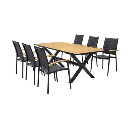 Paseo Collection SETODDIPS7 & Outdoor 7 Piece Black Aluminum Dining