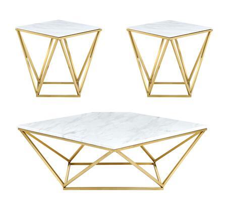 Meridian Mason 2163PCSC2SEKIT1 Living Room Table Set Gold, Set