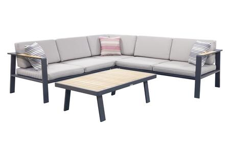 SETODNOSEBE Armen Living Nofi Outdoor Patio Sectional Set in Charcoal Finish with Taupe Cushions and Teak