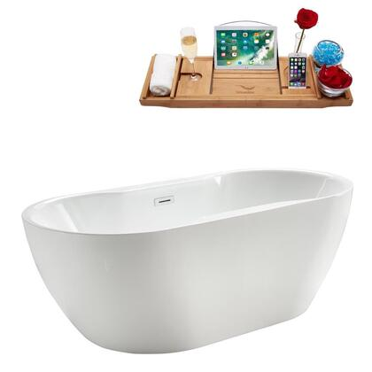 M-2340-67FSWH-DM 67″ Soaking Freestanding Tub and Tray With Internal Drain in White