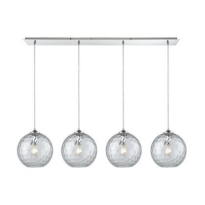 31380/4LP-CLR Watersphere 4 Light Linear Pan Fixture in Polished Chrome with Clear Hammered