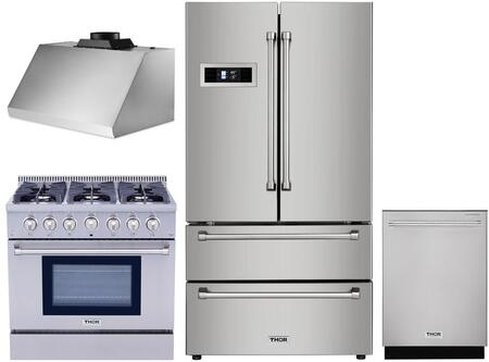 4 Piece Kitchen Appliances Package with HRF3601F 36″ French Door Refrigerator  HRG3618U 36″ Gas Range  HRH3605U 36″ Under Cabinet Ducted Hood and
