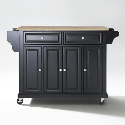 Full Size Kitchen Collection KF30001EBK Full Size Wood Top Kitchen Cart in Black