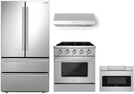 Appliances Connection Picks SHARP  1500896 Kitchen Appliance Package Stainless Steel, Main Image