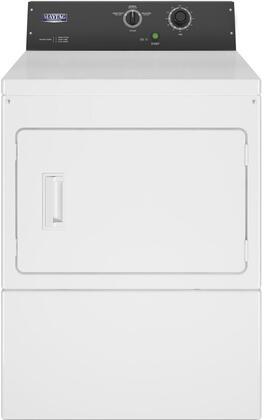 Maytag MDG20MNBWW 27 Commercial Gas Dryer with 7.4 cu. ft. Capacity, Four Roller Suspension, Porcelain Enamel Top, Front Access Panel in White