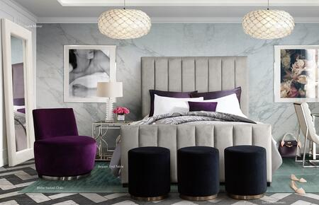 """Venus_Collection_VENUSLGQUBED_89""""_Queen_Bed_with_Velvet_Upholstery__Vertical_Channel_Tufted_Design_on_Headboard_&_Footboard_and_Low_Profile_in_Light"""