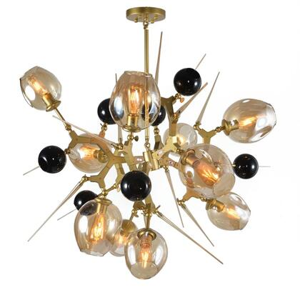 BE01 10-Light Ceiling Fixture with Aluminum and glass Materials and 60 Watts in Gold