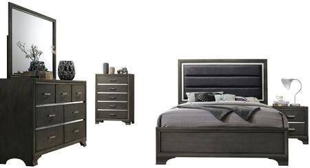 Acme Furniture Carine II 26260Q5SET Bedroom Set Gray, 5 PC Set
