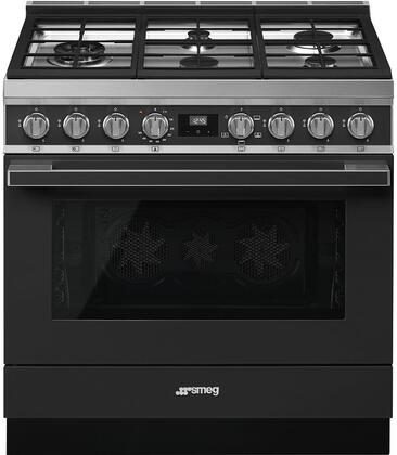 Smeg Portofino CPF36UGGAN Freestanding Gas Range Black, Main Image
