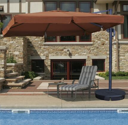 Blue Wave Santorini II Cantilever Umbrella With Valance Opened, Poolside with table and chair