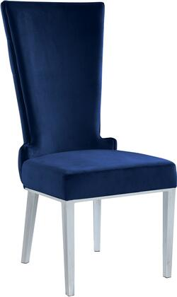 Serafina 729NAVY-C 37″ Dining Chair (Set of 2) with Button Tufting  Rich Chrome Metal Legs and Velvet Upholstery in
