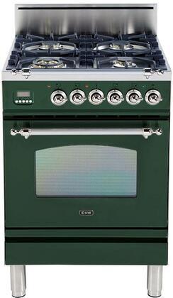 Ilve Nostalgie UPN60DVGGVSX Freestanding Gas Range Green, Main Image