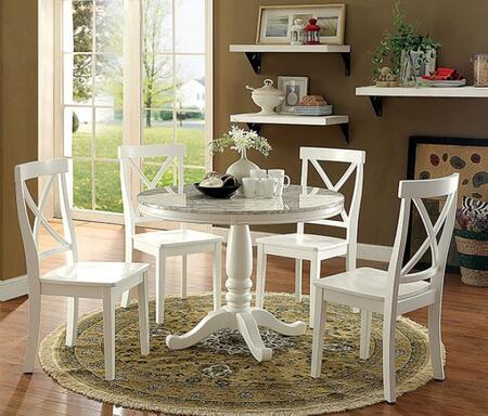 Furniture of America Penelope CM3546RT4SC Dining Room Set White, main image