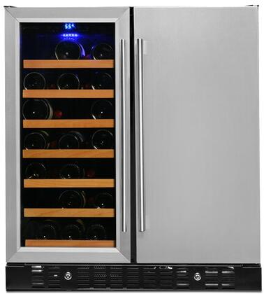 BEV176SD 31″ Compact Wine and Beverage Center with 6.24 cu. ft. Capacity  3 Wire Shelves and 7 Wine Racks  Auto Defrost  LED Lighting  in Stainless