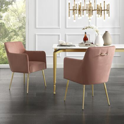 Perogo Collection DC91-02BH2-AC Set of 2 Dining Chairs with High Density Foam  Scooped Backrest and Velvet Upholstery in Blush