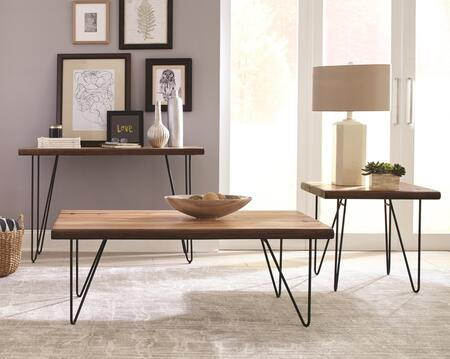Coaster Occasional Groups 707758SET Living Room Table Set Brown, 3 PC Set